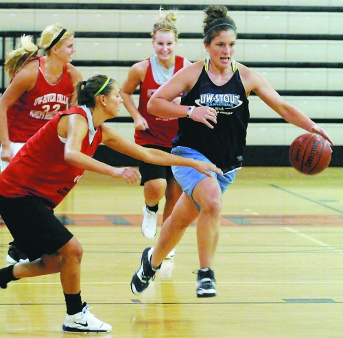 Women's college basketball standouts like UW-Stout's Julia Hirssig take part in the Western Wisconsin Women's Basketball League every Thursday at Osseo-Fairchild High School.