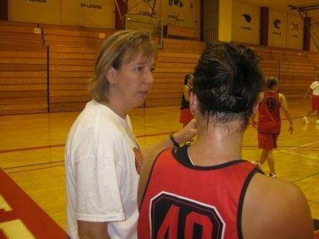 Asst Coach Kathy Holbrook explaining how they do it.